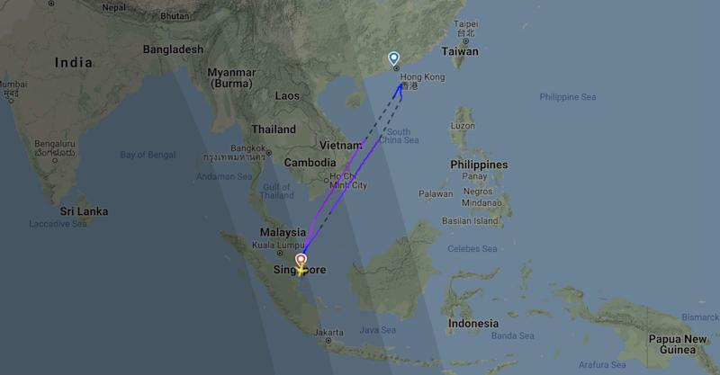 Screenshot of FlightRadar 24 map showing route taken by Scoot flight TR980.