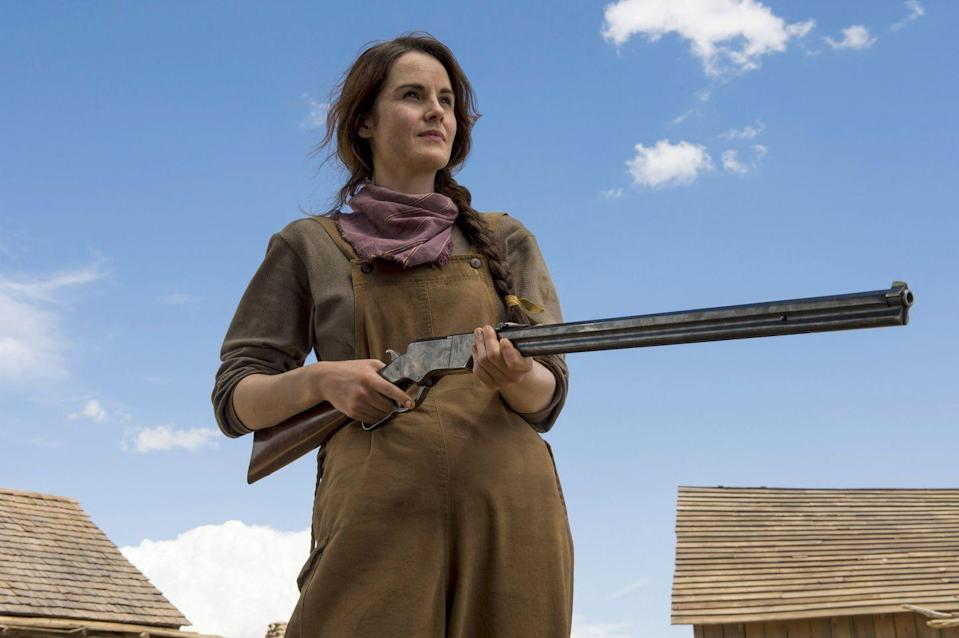"""<p>Screenwriter Scott Frank studied western novels like <em>Deadwood</em> and <em>The Virginian</em> to <a href=""""http://www.latimes.com/entertainment/envelope/la-en-st-godless-20180619-story.html"""" rel=""""nofollow noopener"""" target=""""_blank"""" data-ylk=""""slk:accurately depict"""" class=""""link rapid-noclick-resp"""">accurately depict</a> 1880s New Mexico in <em>Godless</em>, a Wild West drama in which women call the shots (literally). Michelle Dockery's Alice Fletcher, a widow, is merciless when it's time to protect her all-female village from outlaws seeking revenge.</p><p><a class=""""link rapid-noclick-resp"""" href=""""https://www.netflix.com/title/80097141"""" rel=""""nofollow noopener"""" target=""""_blank"""" data-ylk=""""slk:Watch Now"""">Watch Now</a><br></p>"""