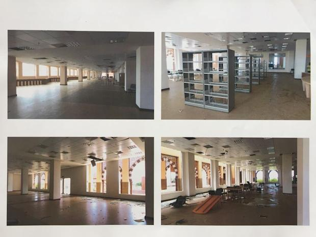 Photos in the leaked report showing damaged ceilings in the building.
