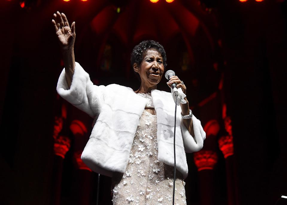The Queen of Soul performed at a gala for the Elton John AIDS Foundation in 2017. (Photo: Nicholas Hunt/WireImage)