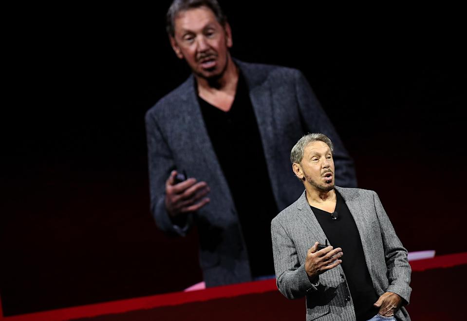 Oracle co-founder and Chairman Larry Ellison delivers a keynote address during the Oracle OpenWorld on October 22, 2018 in San Francisco, California. (Photo by Justin Sullivan/Getty Images)