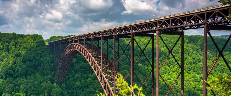 The New River Gorge Bridge, seen from the Canyon Rim Visitor Center Overlook, West Virginia.