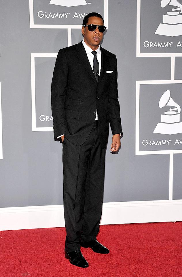 """Good: Jay-Z looked smart in his suit, but where was his beautiful wife, Beyonce? Frazer Harrison/<a href=""""http://www.gettyimages.com/"""" target=""""new"""">GettyImages.com</a> - February 8, 2009"""