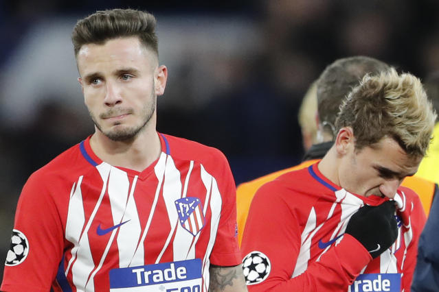 "Atletico Madrid's Saul Niguez, left, and <a class=""link rapid-noclick-resp"" href=""/soccer/players/antoine-griezmann/"" data-ylk=""slk:Antoine Griezmann"">Antoine Griezmann</a> walk off the field dejectedly after drawing <a class=""link rapid-noclick-resp"" href=""/soccer/teams/chelsea/"" data-ylk=""slk:Chelsea"">Chelsea</a>. (AP)"