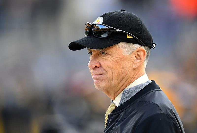 Art Rooney II watches a football game.