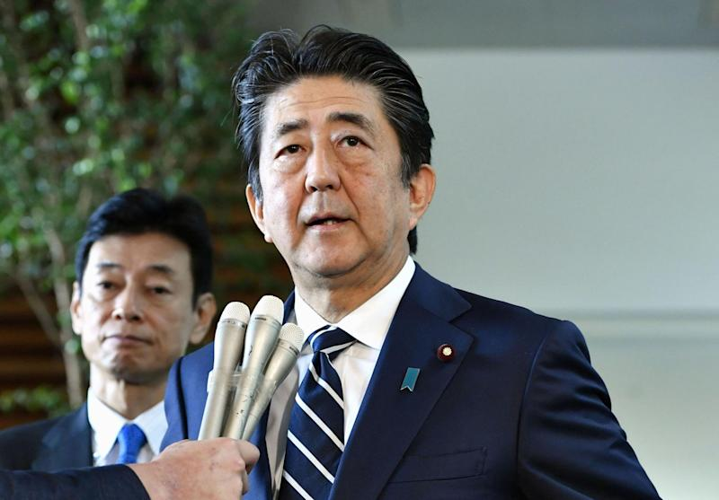 Japan's Prime Minister Shinzo Abe speaks at his official residence in Tokyo: REUTERS