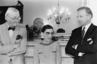 "<p>Ginsburg is pictured here with Joe Biden (right) and Senator Daniel Patrick Moynihan (left) the day after Clinton nominated her to <a href=""https://www.nytimes.com/1993/03/20/us/the-supreme-court-white-announces-he-ll-step-down-from-high-court.html"" rel=""nofollow noopener"" target=""_blank"" data-ylk=""slk:replace conservative Justice Byron White"" class=""link rapid-noclick-resp"">replace conservative Justice Byron White</a> upon his retirement. </p><p>""In her years on the bench she has genuinely distinguished herself as one of our Nation's best judges,"" <a href=""http://www.presidency.ucsb.edu/ws/index.php?pid=46684"" rel=""nofollow noopener"" target=""_blank"" data-ylk=""slk:Clinton said in his nomination speech"" class=""link rapid-noclick-resp"">Clinton said in his nomination speech</a>. ""[She is] progressive in outlook, wise in judgment, balanced and fair in her opinions."" </p>"