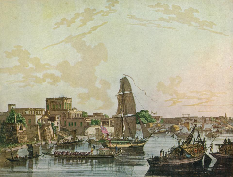 'Calcutta', 1788. From Adventures By Sea From Art of Old Time, by Basil Lubbock. [The Studio Ltd., London, 1925] Artist: Thomas Daniell. (Photo by Print Collector/Getty Images)