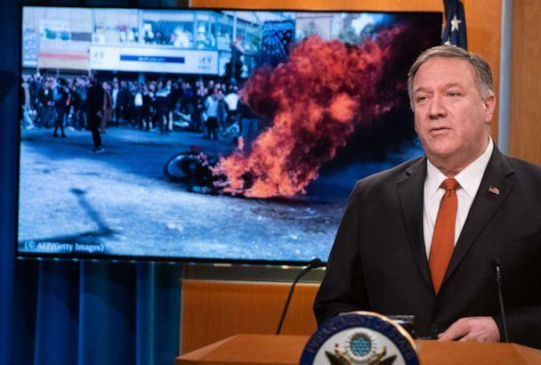 PHOTO: U.S. Secretary of State Mike Pompeo speaks alongside a photograph of demonstrations in Iran as he holds a press conference at the State Department in Washington, D.C., Nov. 26, 2019. (Saul Loeb/AFP via Getty Images)