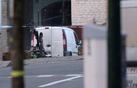 A white van is seen as Belgian police sealed off an area of central Brussels on Thursday while bomb disposal experts checked a vehicle carrying gas bottles, a police spokeswoman told local media, in Brussels, Belgium, March 2, 2017. REUTERS/Marc Baert