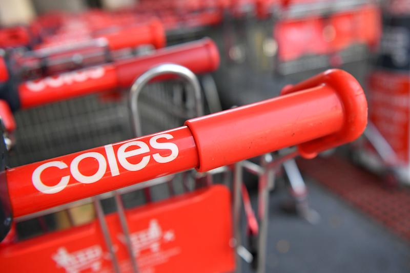 Signage on a trolly at a Coles supermarket in Sydney, Tuesday, February 19, 2019. (AAP Image/Joel Carrett)