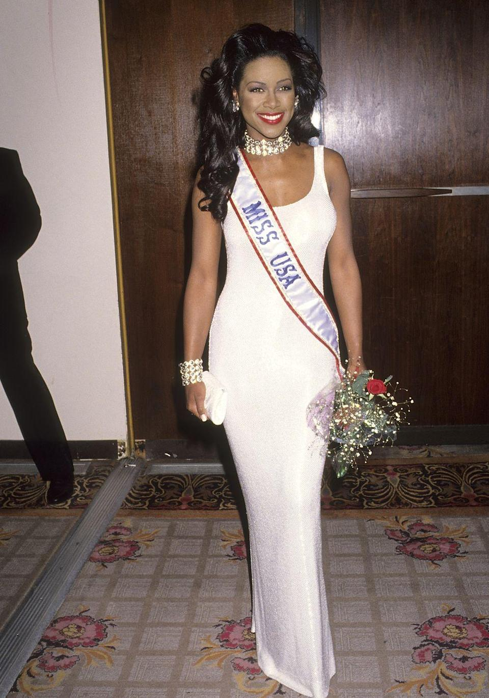 <p>Kenya competed in the 1993 Miss USA competition as a representative from Michigan and won. She was the second Black woman to wear the crown. </p>