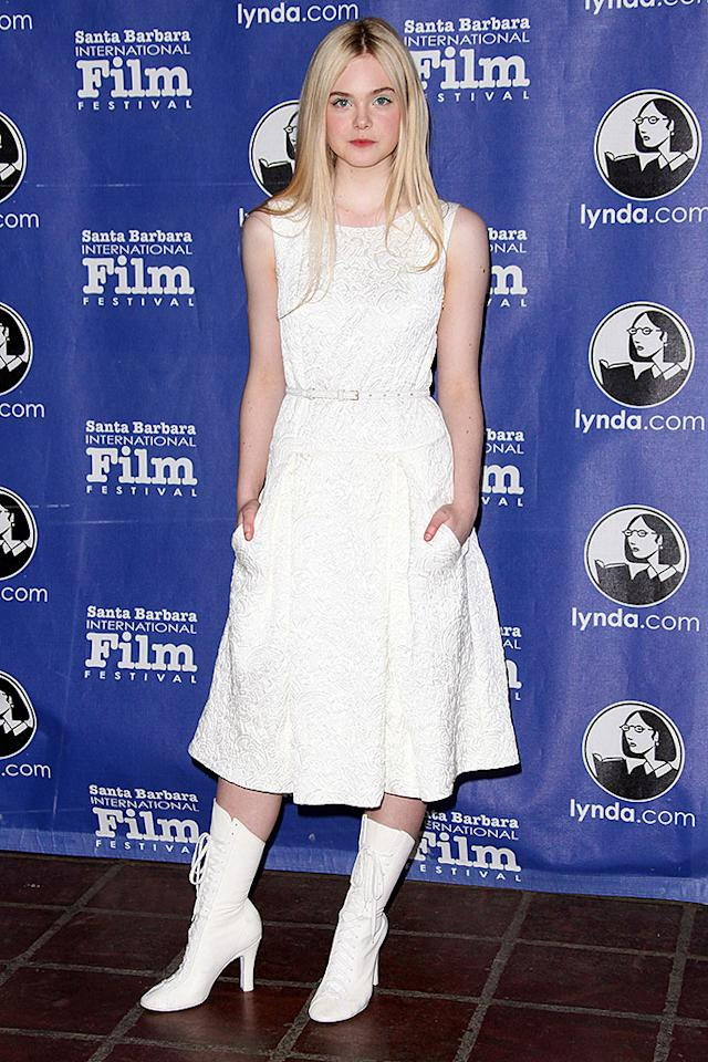 SANTA BARBARA, CA - JANUARY 29:  Elle Fanning attends the 28th Santa Barbara International Film Festival Virtuoso Award ceremony held at the Arlington Theatre on January 29, 2013 in Santa Barbara, California.  (Photo by Tommaso Boddi/WireImage)