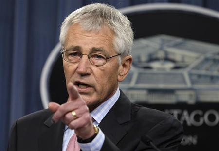 U.S. Secretary of Defense Hagel speaks at a news conference at the Pentagon in Washington