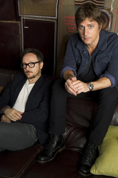 """This July 10, 2012 photo shows Rob Thomas, right, and Paul Doucette of Matchbox Twenty in New York. Matchbox Twenty's new album, """"North,"""" debuted at No. 1 on Billboard's 200 albums chart this week. It is the band's first full-length album since 2002's """"More Than You Think You Are."""" (Photo by Charles Sykes/Invision/AP)"""