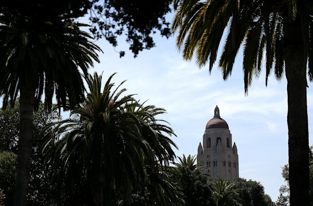 The Hoover Tower is visible through trees on the Stanford University campus (Justin Sullivan/Getty Images)