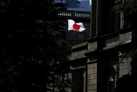 FILE PHOTO: A Japanese flag flutters on the Bank of Japan building in Tokyo