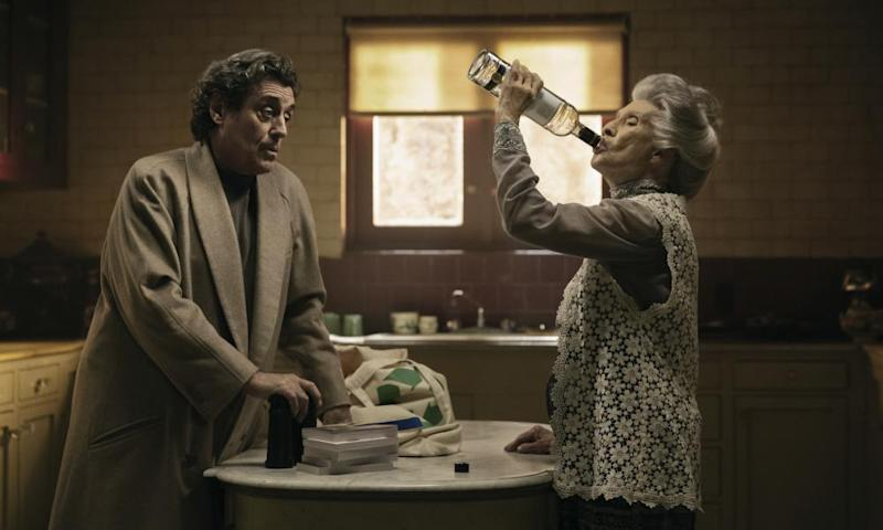 Ian McShane and Cloris Leachman in a scene from American Gods.
