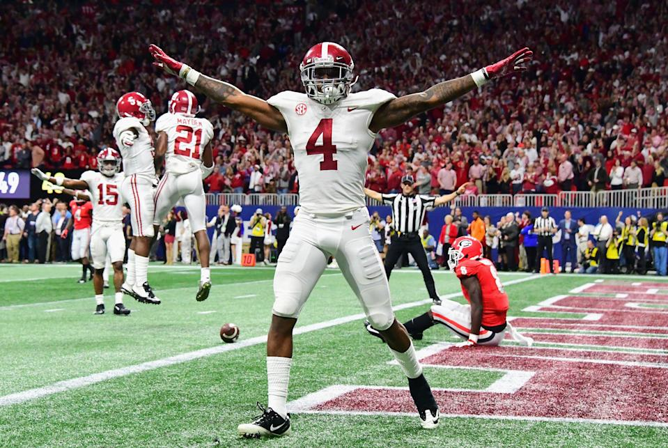 ATLANTA, GA - DECEMBER 01:  Saivion Smith #4 of the Alabama Crimson Tide reacts after breaking up a pass in the second half against the Georgia Bulldogs during the 2018 SEC Championship Game at Mercedes-Benz Stadium on December 1, 2018 in Atlanta, Georgia.  (Photo by Scott Cunningham/Getty Images)
