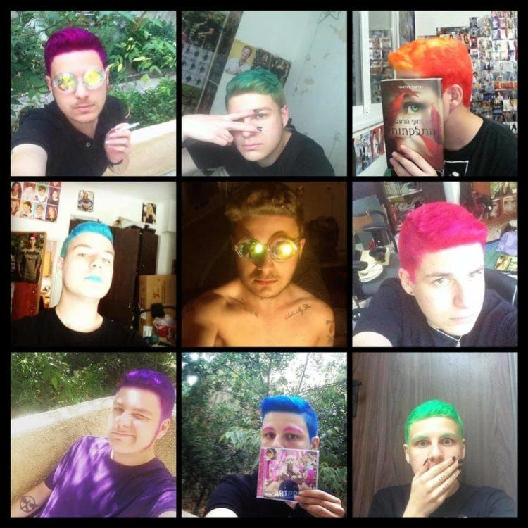 3x3 photo display of man with different colored hair in each picture