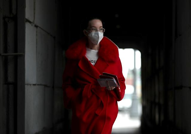 A woman wears a mask in Moscow. (Getty Images)