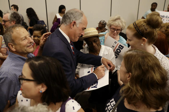 """<span class=""""s1"""">Democratic Sen. Bob Casey Jr., who is running for reelection, greets supporters in Philadelphia in July. (Photo: Matt Slocum/AP)</span>"""