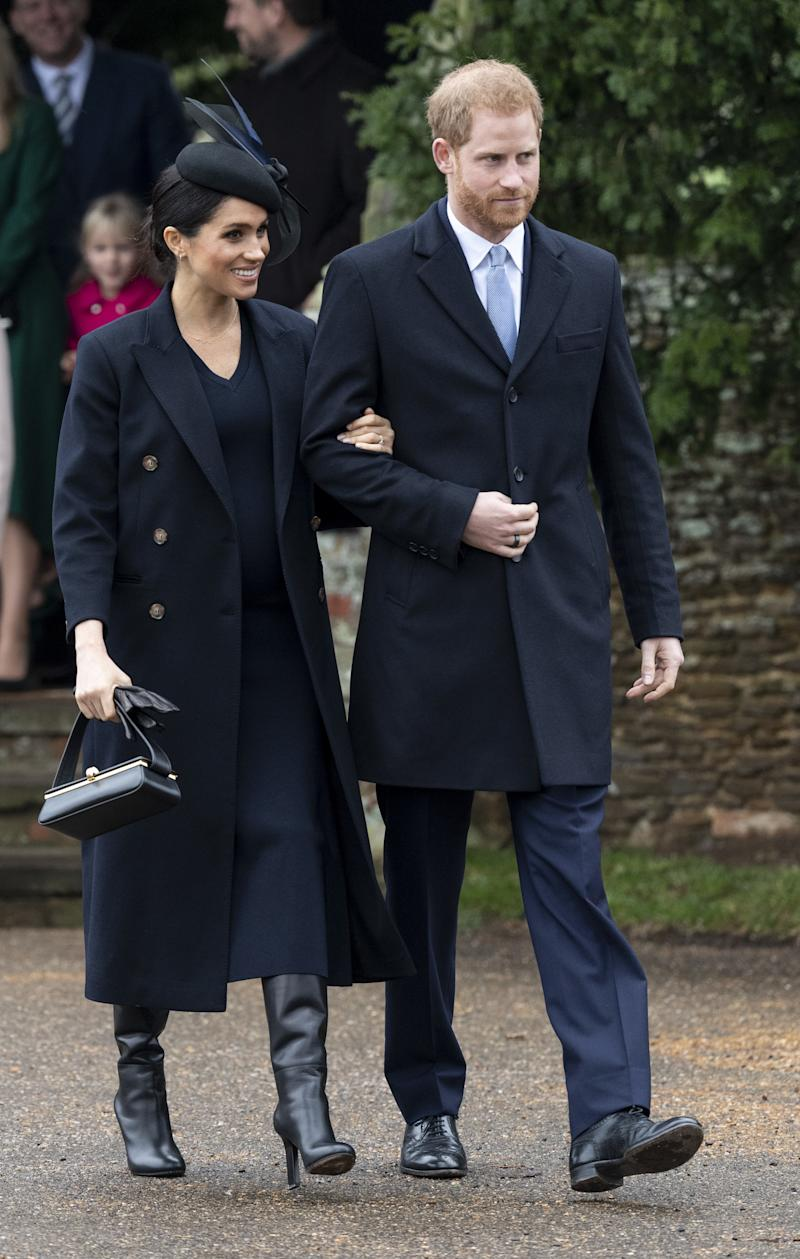 Meghan Markle and Prince Harry attending Christmas church services in 2018. They attended the annual Balmoral grouse hunt the following day.