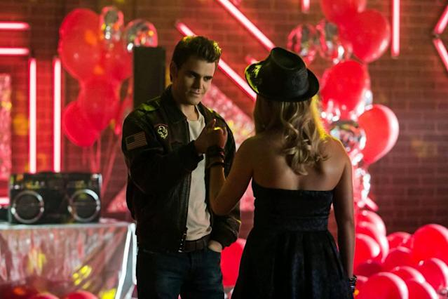"""A View to a Kill"" -- Paul Wesley as Stefan and Claire Holt as Rebekah"