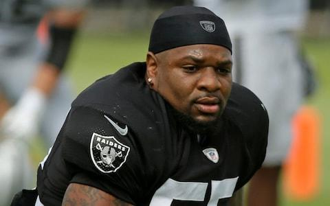 Vontaze Burfict attends NFL football training camp in Napa, Calif. Oakland defensive coordinator Paul Guenther lashed out at the NFL for the severe suspension the league handed Burfict for his latest infraction for a helmet-to-helmet hit - Credit: AP