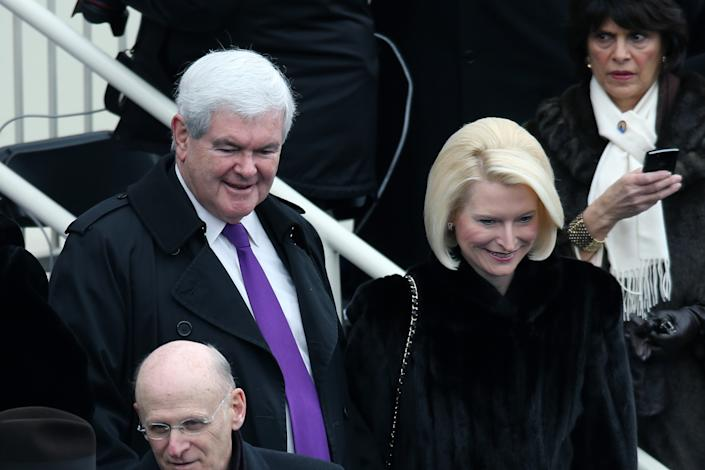 Former House Speaker Newt Gingrich and wife Callista Gingrich arrive during the presidential inauguration on the West Front of the U.S. Capitol January 21, 2013 in Washington, DC. Barack Obama was re-elected for a second term as President of the United States. (Photo by John Moore/Getty Images)