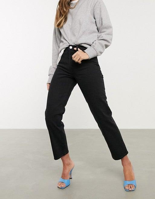 """<br><br><strong>ASOS DESIGN</strong> High Rise Stretch Straight-leg Jeans, $, available at <a href=""""https://go.skimresources.com/?id=30283X879131&url=https%3A%2F%2Fwww.asos.com%2Fus%2Fasos-design%2Fasos-design-high-rise-stretch-slim-straight-leg-jeans-in-black%2Fprd%2F13415210"""" rel=""""nofollow noopener"""" target=""""_blank"""" data-ylk=""""slk:ASOS"""" class=""""link rapid-noclick-resp"""">ASOS</a>"""