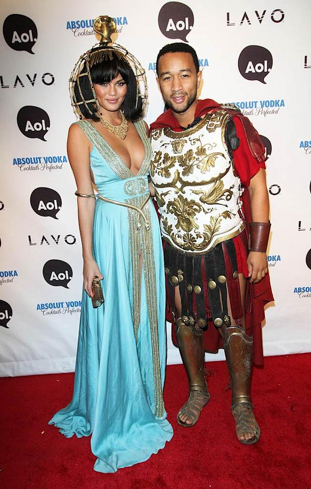 """John Legend and his gorgeous model girlfriend Christine Teigen donned the perfect couples costume: Antony and Cleopatra. Richie Buxo/<a href=""""http://www.splashnewsonline.com/"""" target=""""new"""">Splash News</a> - October 31, 2010"""