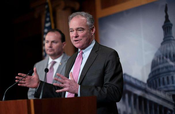 PHOTO: Sen. Tim Kaine meets with reporters after the Senate advanced a resolution asserting that President Donald Trump must seek approval from Congress before engaging in further military action against Iran, at the Capitol in Washington, Feb. 12, 2020. (J. Scott Applewhite/AP)