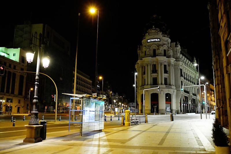 A general view of Gran Via. State of emergency for 15 days due to coronavirus (Covid-19) outbreak in Madrid, Spain on March 14, 2020. (Photo by Juan Carlos Lucas/NurPhoto via Getty Images)