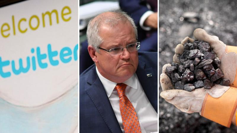 A sign of the Twitter logo on the left, Scott Morrison in the centre, and a handful of coal on the right.
