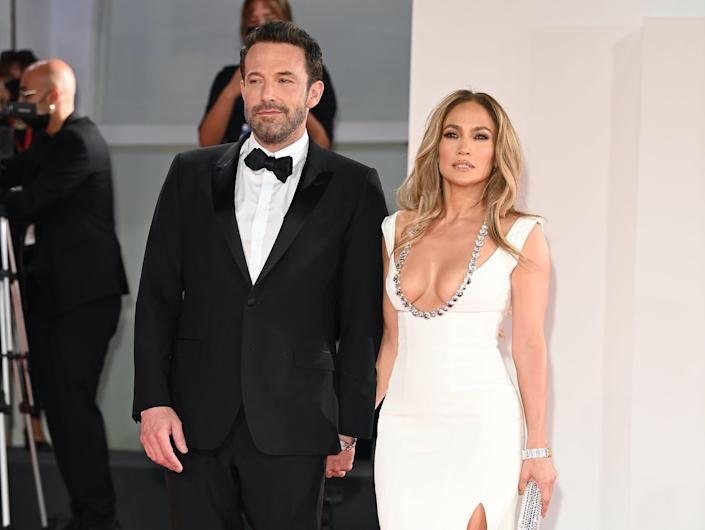"""Jennifer Lopez and Ben Affleck attend the premiere of """"The Last Duel."""""""
