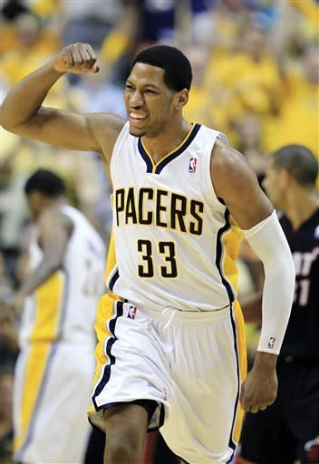 Indiana Pacers' Danny Granger reacts after hitting a shot during the first half of Game 4 of their NBA basketball Eastern Conference semifinal playoff series against the Miami Heat, Sunday, May 20, 2012, in Indianapolis. (AP Photo/Darron Cummings)
