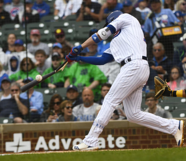 Chicago Cubs' Kris Bryant breaks his bat while hitting during the first inning of a baseball game against the Pittsburgh Pirates, Sunday, June 10, 2018, in Chicago. (AP Photo/Matt Marton)
