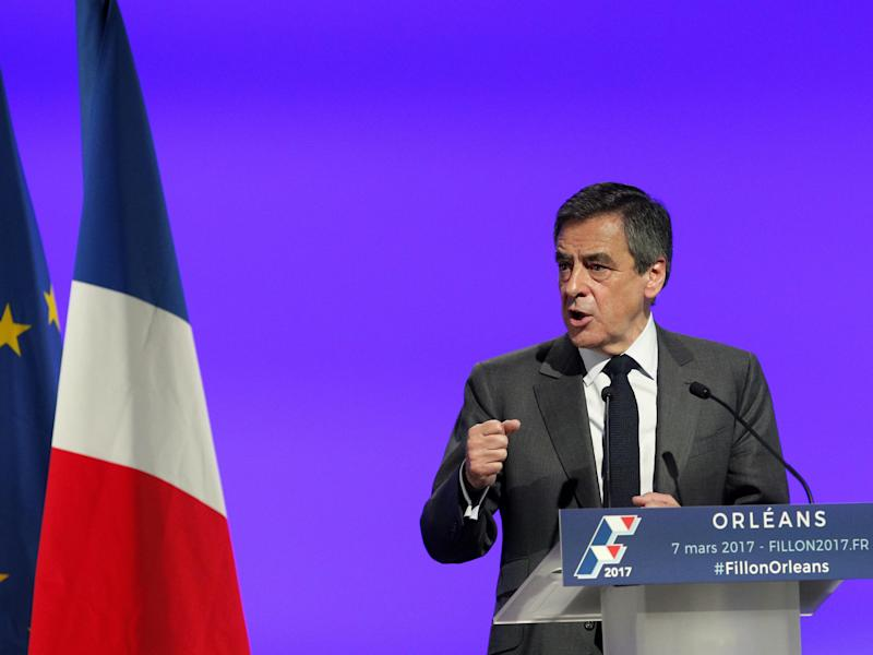 French conservative presidential candidate Francois Fillon delivers his speech during the rally in Orleans: AP