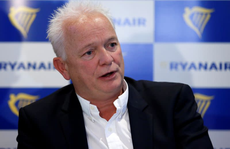 Ryanair's Chief People Officer Wilson holds a news conference in Brussels