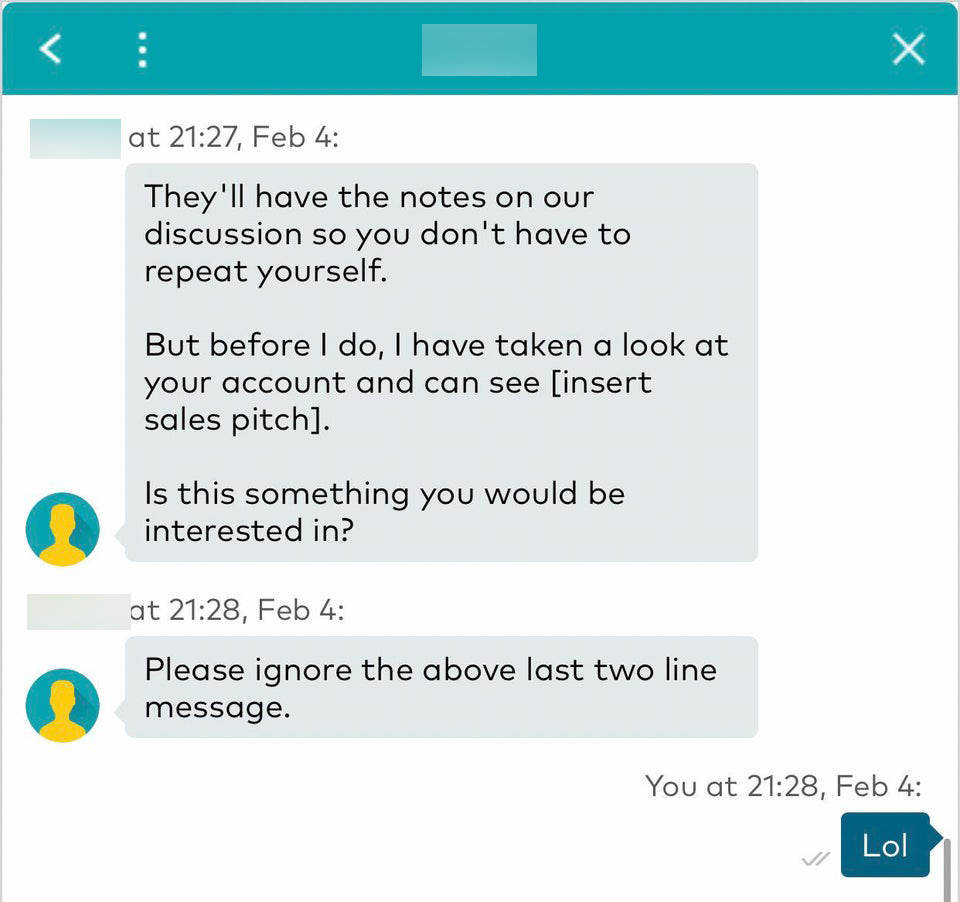 Screenshot of Optus customer care rep gaffe sending sales pitch script unedited to customer