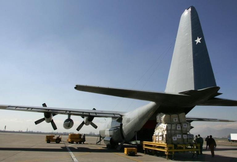 A Chilean Hercules C-130 military transport plane, the same model that has disappeared with 38 people on board