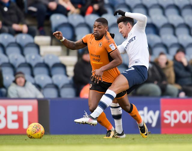 "Soccer Football - Championship - Preston North End vs Wolverhampton Wanderers - Deepdale, Preston, Britain - February 17, 2018 Wolverhampton WanderersÕ Ivan Cavaleiro in action with PrestonÕs Callum Robinson Action Images/Paul Burrows EDITORIAL USE ONLY. No use with unauthorized audio, video, data, fixture lists, club/league logos or ""live"" services. Online in-match use limited to 75 images, no video emulation. No use in betting, games or single club/league/player publications. Please contact your account representative for further details."