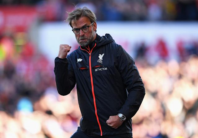 <p>Liverpool manager Jurgen Klopp celebrates</p>