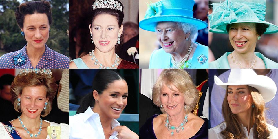 """<p class=""""body-dropcap"""">Every gemstone out there comes with its own list of alleged qualities. <a href=""""https://www.townandcountrymag.com/style/jewelry-and-watches/g35744981/princess-diana-queen-elizabeth-emerald-jewelry-photos/"""" rel=""""nofollow noopener"""" target=""""_blank"""" data-ylk=""""slk:Emeralds"""" class=""""link rapid-noclick-resp"""">Emeralds</a> signify fertility and rebirth. <a href=""""https://www.townandcountrymag.com/style/jewelry-and-watches/g36157351/princess-diana-kate-middleton-sapphire-jewelry-photos/"""" rel=""""nofollow noopener"""" target=""""_blank"""" data-ylk=""""slk:Sapphires"""" class=""""link rapid-noclick-resp"""">Sapphires</a> are stones of wisdom. Amethysts protect against negativity. And aquamarines are calming. We can only speculate as to just how much members of the royal family take these things into account when combing through <a href=""""https://www.townandcountrymag.com/society/tradition/g35451284/queen-elizabeth-royal-family-best-parure-jewelry/"""" rel=""""nofollow noopener"""" target=""""_blank"""" data-ylk=""""slk:their jewelry vaults"""" class=""""link rapid-noclick-resp"""">their jewelry vaults</a> for public engagements and state banquets. Of course, there is no doubt that they absolutely send messages through their jewels, though it's more often related to the historical significance of said piece (see such important heirlooms as <a href=""""https://www.townandcountrymag.com/style/jewelry-and-watches/g25939782/royal-family-jewelry/"""" rel=""""nofollow noopener"""" target=""""_blank"""" data-ylk=""""slk:the Prince Albert Brooch"""" class=""""link rapid-noclick-resp"""">the Prince Albert Brooch</a> and <a href=""""https://www.townandcountrymag.com/style/jewelry-and-watches/a27633284/queen-elizabeth-vladimir-tiara-romanov-jewels/"""" rel=""""nofollow noopener"""" target=""""_blank"""" data-ylk=""""slk:the Vladimir Tiara"""" class=""""link rapid-noclick-resp"""">the Vladimir Tiara</a>). </p><p class=""""body-text"""">Still, we can't help but wonder about some of the more ethereal possibilities. Take, for instance, <a href=""""https://www.townandcountrymag.com/society/"""