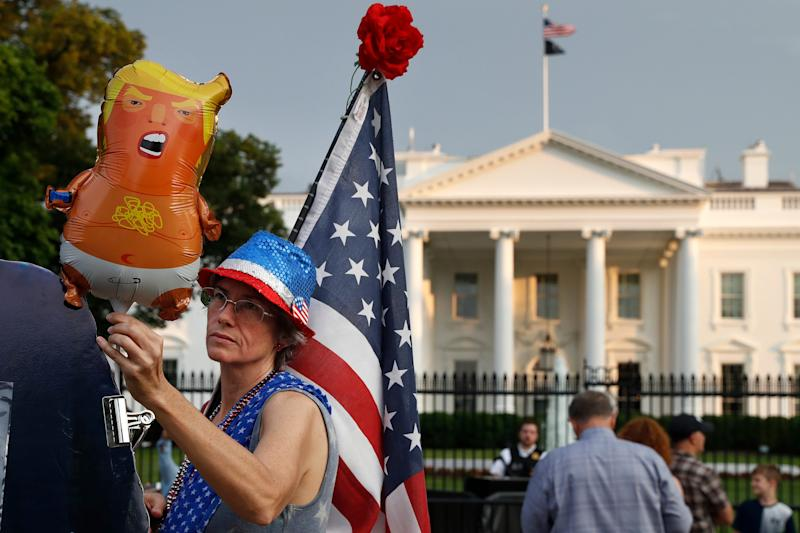 Baby Trump balloon at a Trump protest outside the White House in Washington, D.C. on May 18, 2019