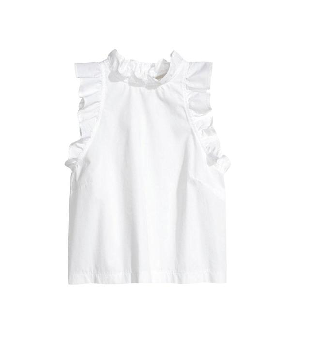 "<p>Sleeveless Blouse, $35, <a href=""http://www.hm.com/us/product/69140?article=69140-A"" rel=""nofollow noopener"" target=""_blank"" data-ylk=""slk:hm.com"" class=""link rapid-noclick-resp"">hm.com</a> </p>"
