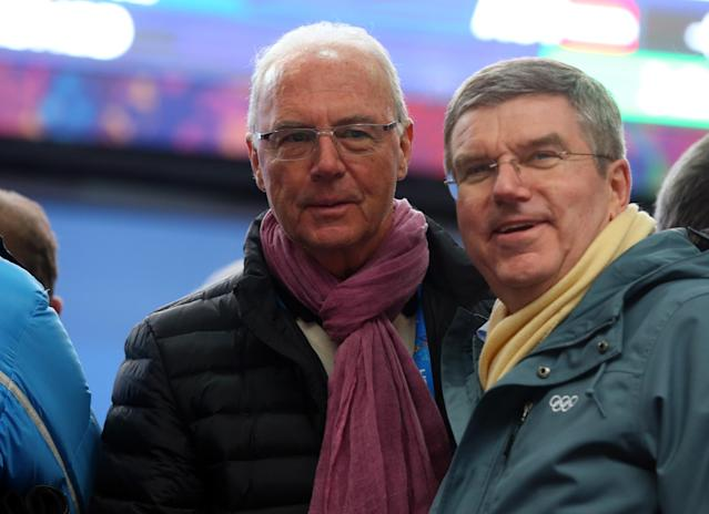 SOCHI, RUSSIA - FEBRUARY 09: International Olympic Committee (IOC) President Thomas Bach (R) and Franz Beckenbauer attend the Men's Luge Singles on Day 2 of the Sochi 2014 Winter Olympics at Sliding Center Sanki on February 9, 2014 in Sochi, Russia. (Photo by Alexander Hassenstein/Getty Images)