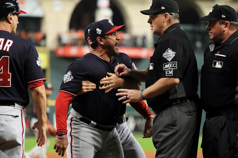 Dave Martinez says a team doctor and a fan both expressed concern over his heart because of his Game 6 outburst. (Mike Ehrmann/Getty)