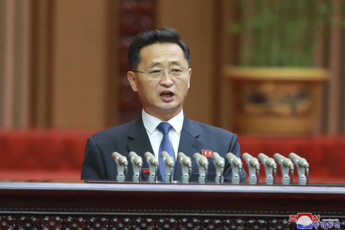 "In this photo provided by the North Korean government, North Korean Premier Kim Tok Hun speaks during a meeting of the Supreme People's Assembly in Pyongyang, North Korea Sunday, Jan. 17, 2021. North Korea's rubber-stamp parliament has passed decisions made by a major ruling party meeting where leader Kim Jong Un vowed to bolster his nuclear deterrent and established plans to salvage a dismal economy. Independent journalists were not given access to cover the event depicted in this image distributed by the North Korean government. The content of this image is as provided and cannot be independently verified. Korean language watermark on image as provided by source reads: ""KCNA"" which is the abbreviation for Korean Central News Agency. (Korean Central News Agency/Korea News Service via AP)"